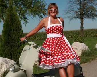 Rockabilly dress , petticoat dress, neckholder dress, plate skirt, cotton dress, 50s dress, dress, blue, white