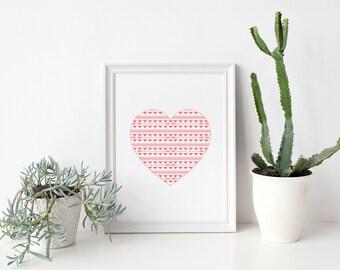 Valentine's Art Print Tribal Heart Instant Download Art Print Quote Printable Art Print