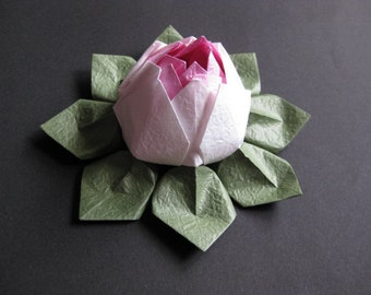 Origami Lotus Flower - Pink and White, Japanese Special Momigami, Anniversary, Hostess Gift, Birthday Gift, Table Decor, Get Well