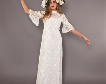 1960s 70s Vintage White Lace Wedding Gown Victorian Style Maxi Dress