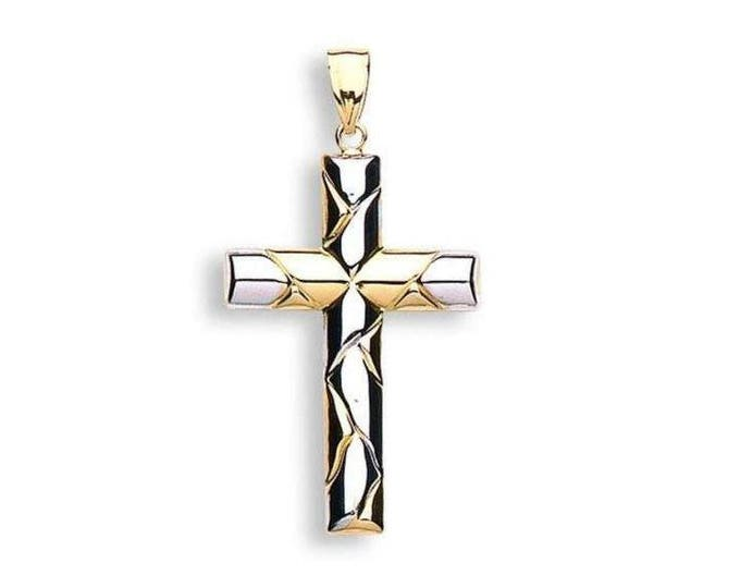 9ct 2 Colour Yellow & White Gold Crucifix Cross Pendant Hallmarked