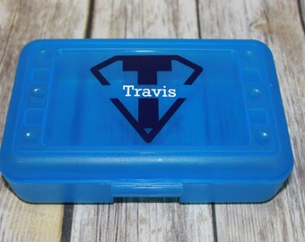 Superhero Pencil Box, Superhero Kids Pencil Box, Craft Box, Pencil Case, Back to School, Vinyl Pencil Box, Kids Pencil Box