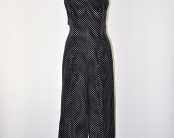 80s polka dot romper / 1980s backless jumpsuit / black and white playsuit