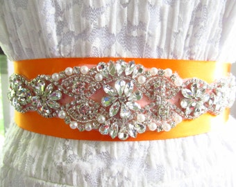 SQA-23 / Rhinestone Bridal Ribbon Sash / Double Faced Ribbon Sash / Bridal Sash / Bridal  / Embellished Sash / Wedding Belt / Bridal Belt