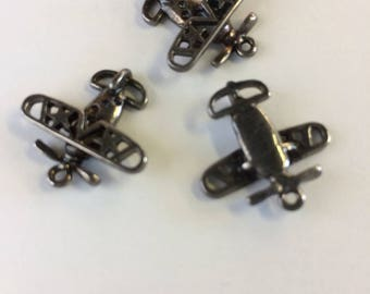 Lot of 12 - Airplane Charm, 3-D, polished brass   alloy