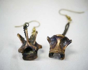 Rabbit vertebra earrings, dangling earrings, unique earrings, brass earrings, cast from original rabbit spine, sacred nature, boho fashion