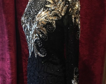 Gorgeous Vintage beaded tunic dress size 8-10 UK glamour party dress
