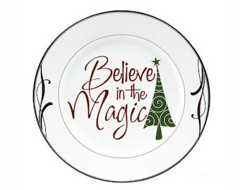 "Christmas Decorations Holiday Decal ""Believe in the Magic"" Tree Vinyl Decal Sticker Tile Decal Christmas Charger Plate Decal Holiday Sign"