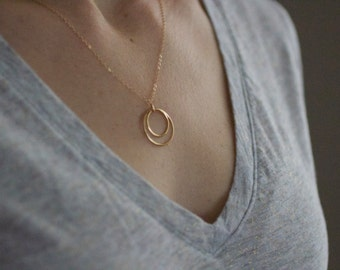 circle necklace, dainty gold necklace, delicate gold, two circles necklace, circle circle jewelry, mixed metals, sterling silver