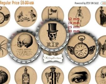 80% Off Spring Sale 12 mm, 20mm, 30 mm, 1 inch Vintage Halloween Bottle Caps 1 inch circles Steampunk Halloween Digital Collage Sheet
