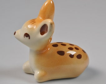 "eb3150 Rio Hondo ?? Pottery Deer Fawn Figurine Ceramic 3.5"" x 3"""