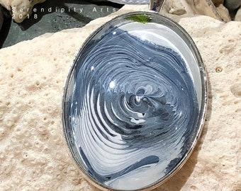 Blue Ripple Oval Pendant