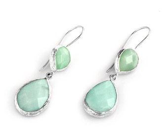 Aventurnie Drop Earrings in Silver