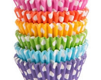 150 Ct Rainbow Polka Dot Baking Cups - Cupcake Liners - Standard 2 Inch Fancy Cupcake Liner Colorful Party Colors!