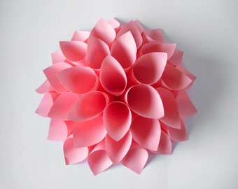 14inch Pink Paper Flower, Pink Paper Dahlia, Paper Wreath, Flower Wreath, Wedding Decor, Centerpiece, Paper Wall Decor, Wedding Backdrop
