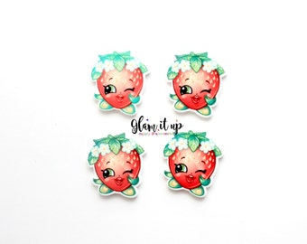 Shopkin bow center-strawberry kiss Center- shopkin inspired Flatback resin- strawberry kiss cabochon-shopkin hair bow center-hair bow