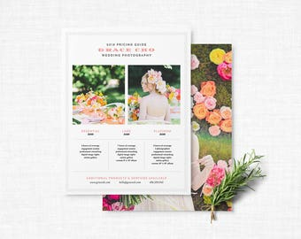 Vintage Pricing Sheet Template | Hobnail Pricing Sheet Template | INSTANT DOWNLOAD Pricing Sheet Template with Photo Backer