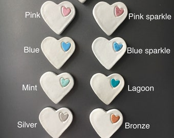 Clay heart fridge magnets - various colours