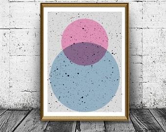 Minimalist Prints, Geometric Art, Scandinavian Art, Geometric Poster, Op Art, Geometric wall art, Geometric Poster, Pink Blue Bubbles