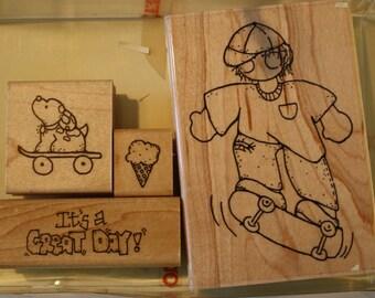 September-Scottie skateboarding boy stamp set by CTMH