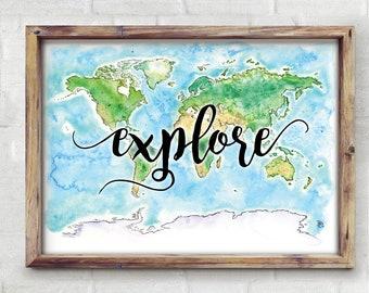 Explore World Watercolor Map - Giclée Print of Hand Painted Original Art