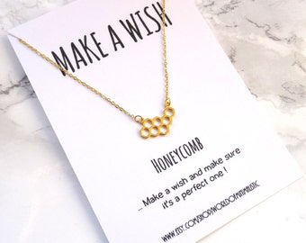 Honeycomb silver or gold every day necklace, layering necklace, bff gift, minimalist simple necklace, honeycomb jewelry, make a wish gift