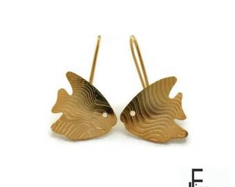 gold fish earrings, handmade earrings, gold long earrings, gold earrings, engraving earrings, silver plated drop earrings, casual earrings
