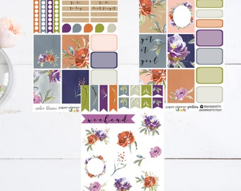 Amber Blooms Weekly Planner Sticker Kit Erin Condren Inkwell Press Happy Planner Plum Paper Set  Fall Winter Dark Floral Watercolor