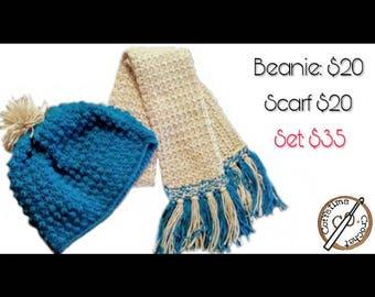 Crochet Scarf/ Crochet Beanie/ Winter Clothing/ Winter Accessories/ Crochet/ Handmade