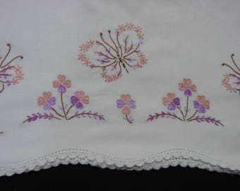 Vintage Pillowcase Pair, White Cotton with Embroidered Butterflies and Flowers, Crochet Edge