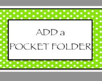 Add a POCKET FOLDER for Journals, double sided, pocket folder, card stock