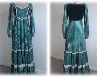 Vintage GUNNE SAX Green Maxi Dress W/Lace & Velvet in Near Mint Condition - Forest Sprite Gown - Sz XS