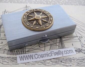 Tiny Compass Pill Box Small Size Metal Pill Case Steampunk Pill Box Nautical Compass North Star Pillbox