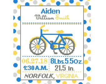 1 Cross Stitch custom Pattern Baby Boy Personalised Birth Announcement Birth Record Bicycle Blue Yellow Gray Transport polka dots cute