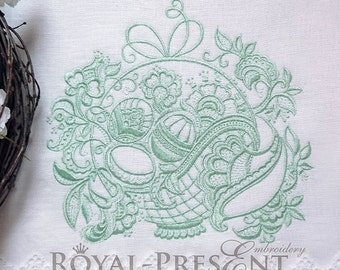 Machine Embroidery Design - Lace Easter basket