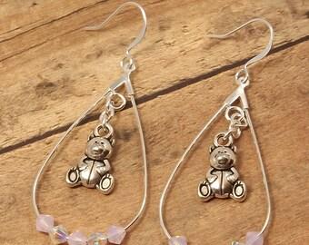 Swarovski crystal girl boy teddy bear earrings, new mom earrings, new grandma earrings, babysitter gift, Mother's Day gift, Swarovski