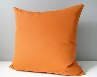 Decorative Orange Outdoor Pillow Cover, Tuscan Orange Pillow Cover, Pumpkin Orange Pillow Cover, Sunbrella Cushion Cover, Mazizmuse