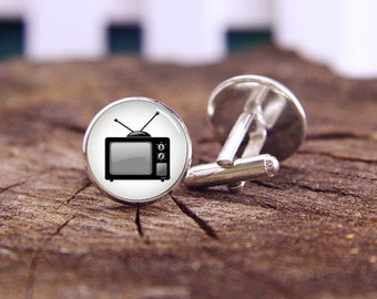 TV Cufflinks, Old Television Cuff Links, Custom Your Photo Cufflinks, Custom Image, Custom Wedding Gifts, Groom Cufflinks, Tie Clip Or Set