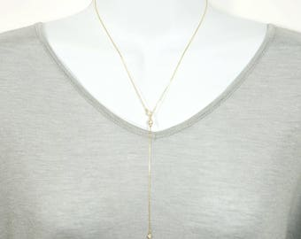 Lara Axelrod Inspired CZ Lariat Sterling silver Necklace