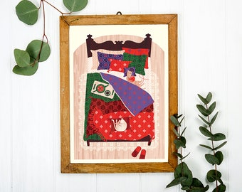Cats in a Bedroom Art Print A3 - Housewarming Gift, Christmas Gift, Bedroom Wall Art, Couples Gifts, Home Decor - Inspired by Lithuania