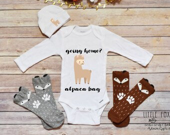 Newborn Take Home Outfit, Baby Boy Clothes, Boy Onesie®, Alpaca Shirt, Funny Take Home Outfit, Llama Outfit, Coming Home Onesie®