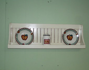 Bowl Rack Plate Shelf Distressed Country Wall Hanging Plate Rack Antiqeud White Primtive