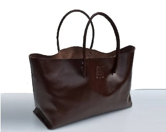 Large Leather Shopper Bag XXL Shopper shopping bag for big buy brown handmade