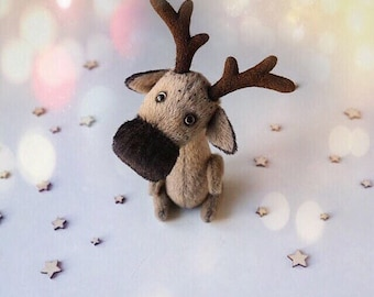 Miniature teddy deer - little deer - stuffed toy - teddy moose felted eco friendly soft toy - teddy collectibles - ooak teddy - stuffed deer