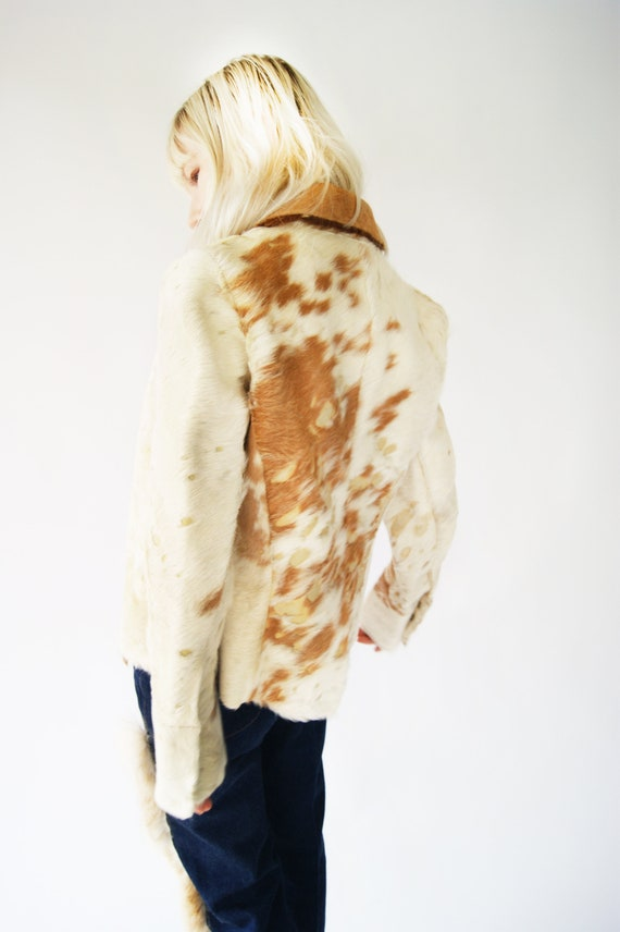 Leather And Fur Cow Jacket From 1970's by Etsy