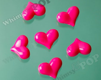 10 -  Heart Opaque Acrylic Beads, Heart Beads, Heart, Dark Pink Beads, 17mm x 23mm x 10mm, Hole: 2mm (R7-111)