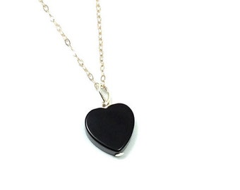 Onyx Necklace- Black Heart Necklace- Crystal Heart Pendant- Onyx Crystal Necklace Sterling Silver- Black Stone Necklace- Heart Stone Jewelry