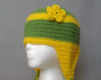 crocheted green and yellow striped winter hat with flower and earflaps for adults