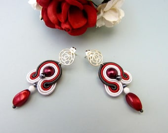 Small drop dangle earrings, 80s colorful earrings, soutache statement earring, red gray bridesmaid earrings, chunky evening earrings, retro