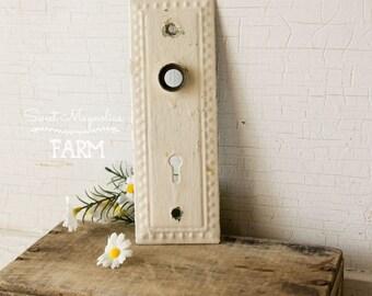 Antique Hardware Door Plate - Chippy White Paint - Decorative Design - Architectural Salvage Back Plate